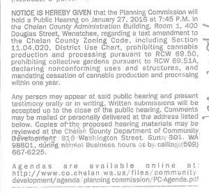 Public Notice on marijuana hearing